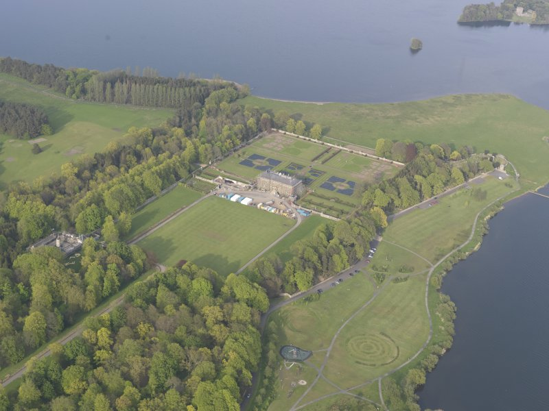 General oblique aerial view of Kinross House, looking ENE.