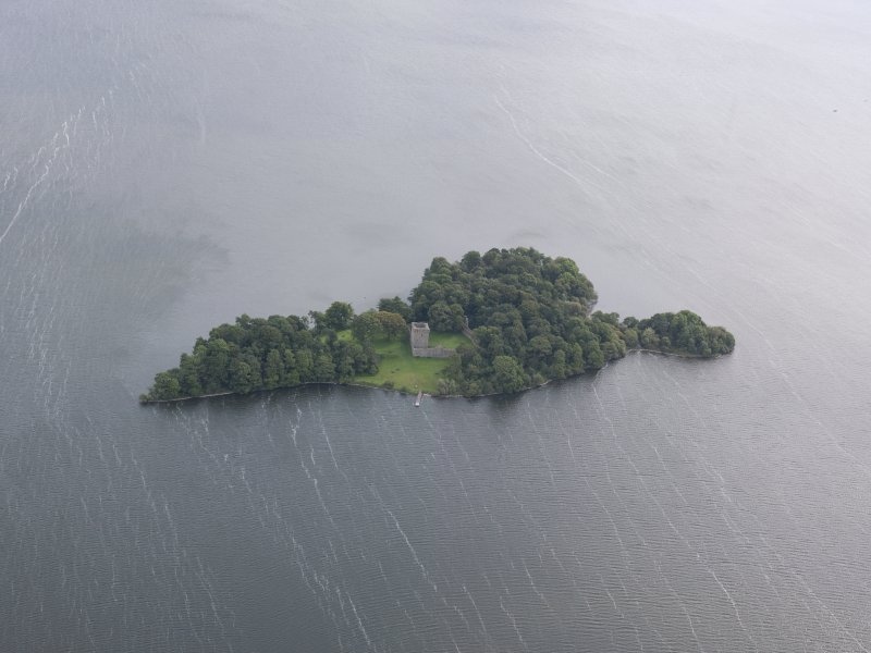 Oblique aerial view of Lochleven Castle, looking ENE.