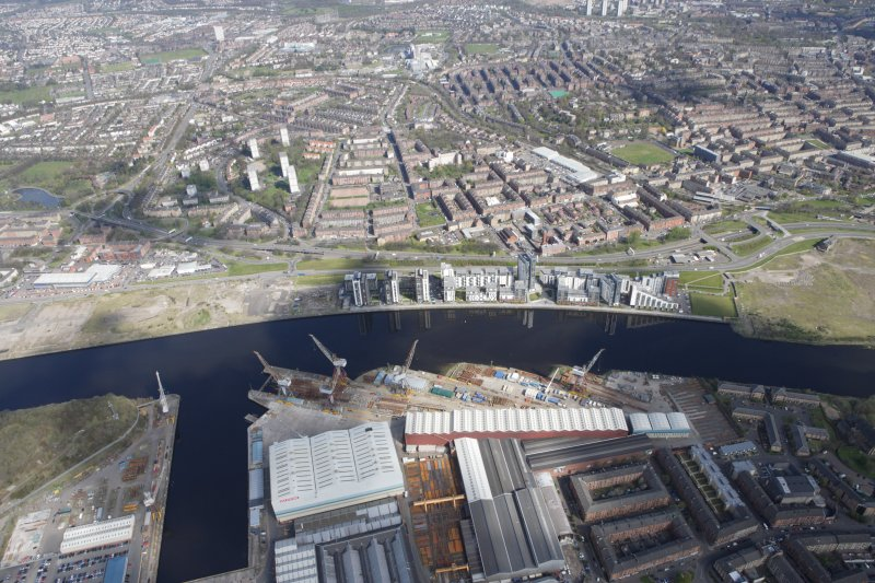 General oblique aerial view of Clydebank and Fairfield Shipyard, looking NNE.