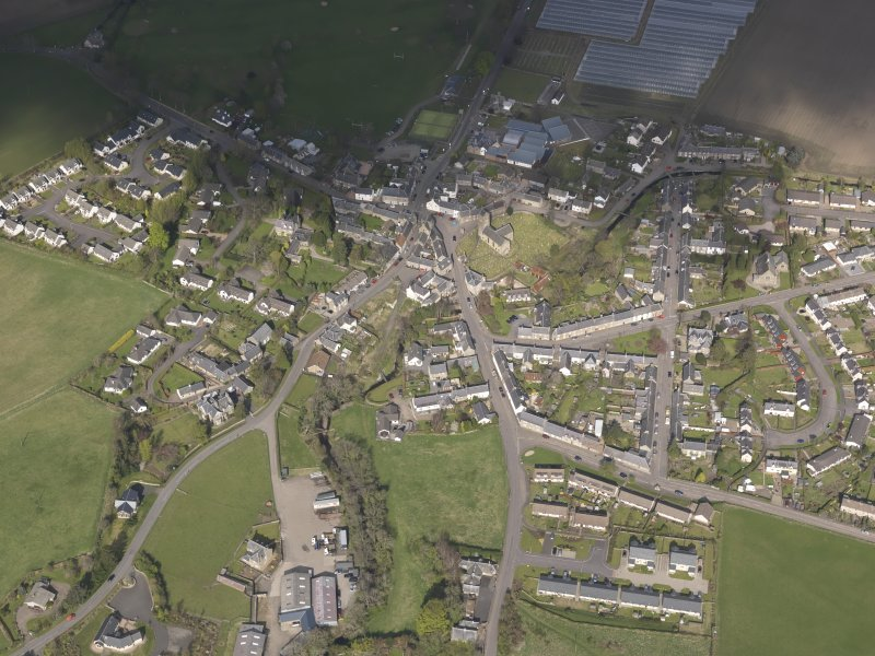 Oblique aerial view of Dunning, looking NW.