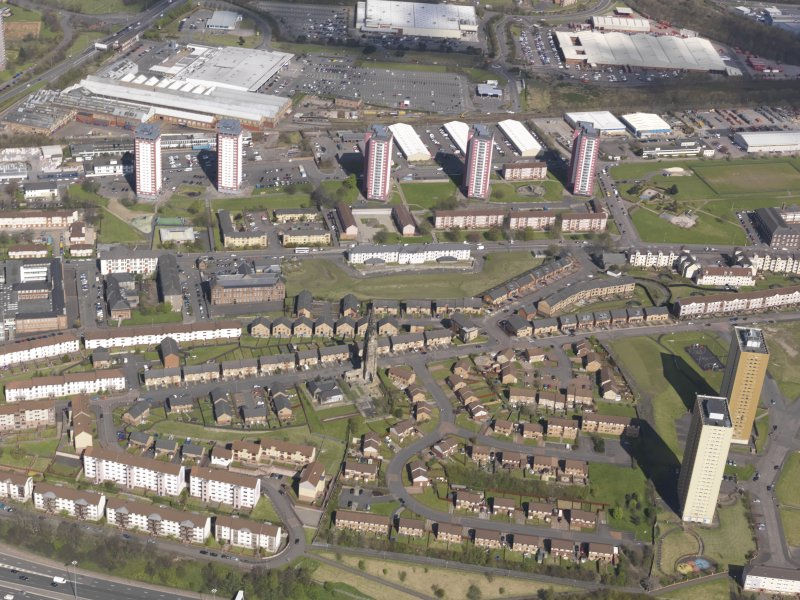 General oblique aerial view of Royston Housing Estate, looking N.