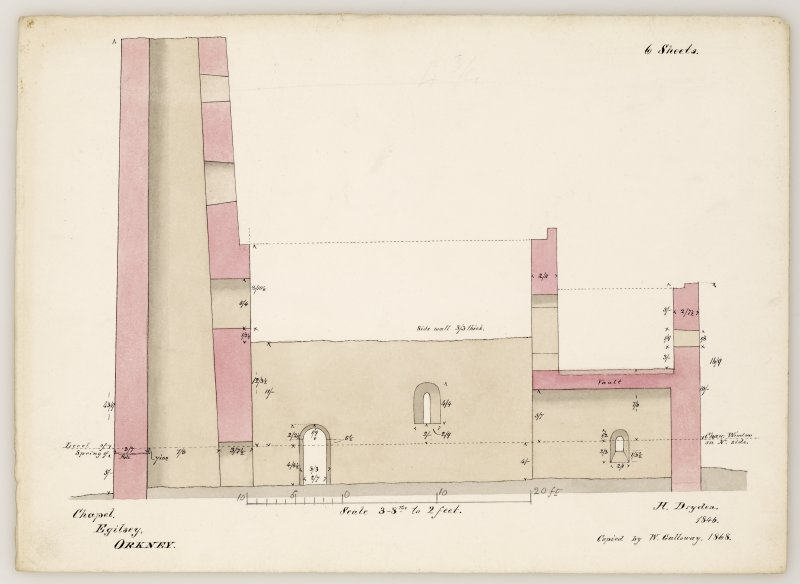 Section from west to east, inscribed with notes and dimensions. Black ink with pink, buff and grey wash.  Copied by Galloway 1868, after Dryden 1846