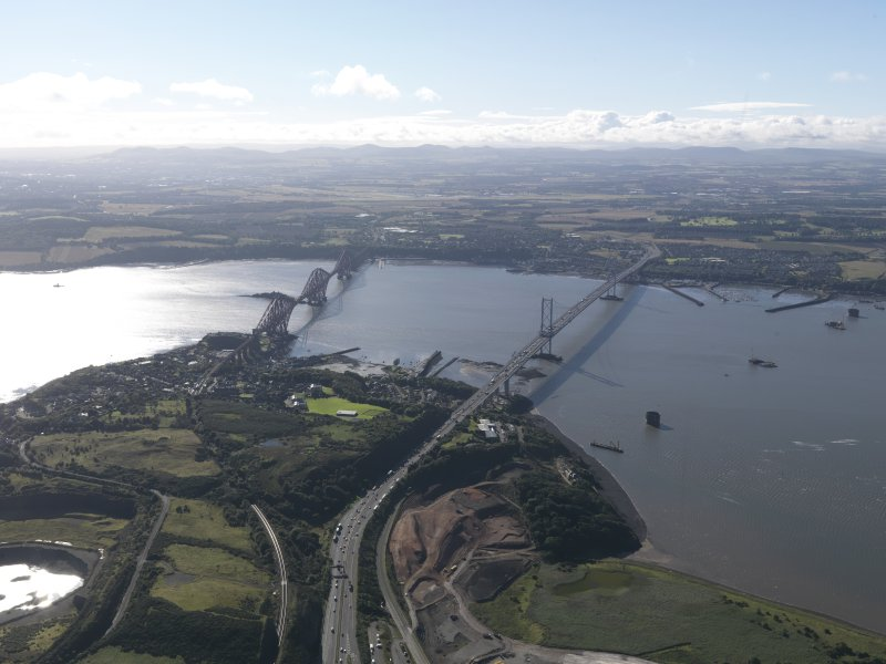 General oblique aerial view of the Firth of Forth , centred on the Forth Road Bridge, taken from the N.