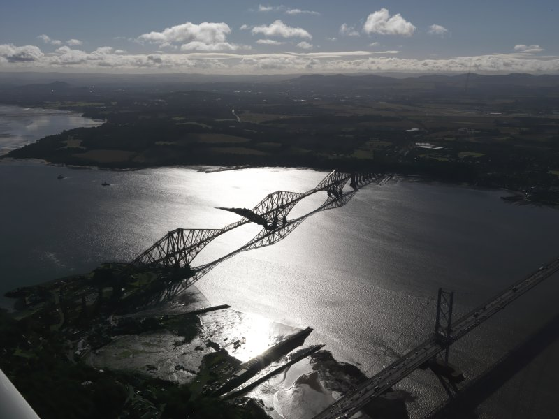 Oblique aerial view of Forth Bridge, taken from the NW.
