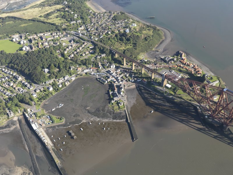 Oblique aerial view of North Queensferry Harbour, taken from the S.
