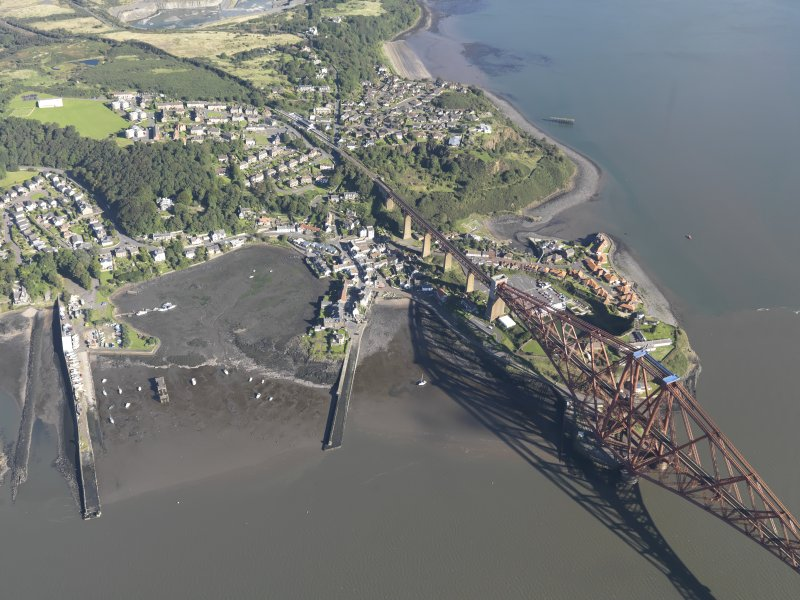 Oblique aerial view of North Queensferry Harbour, taken from the SSE.