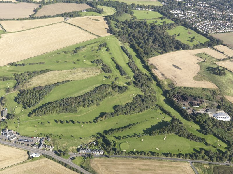 Oblique aerial view of Turnhouse Golf Course, taken from the SSW.