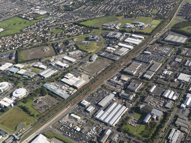 General oblique aerial view of South Gyle Industrial Estate, centred on the Tram Network to the City, taken from the SW.