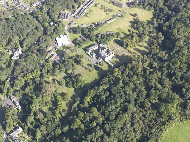 Oblique aerial view of Newbattle Abbey House, taken from the SE.