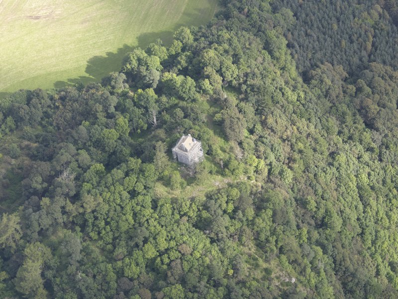 Oblique aerial view of Fatlips Castle, taken from the SSW.