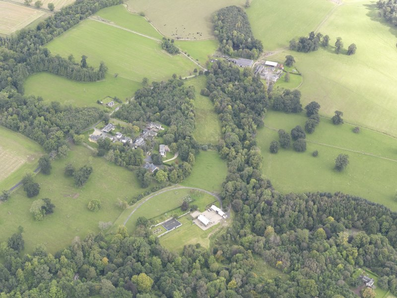 Oblique aerial view of Minto House, taken from the SSW.
