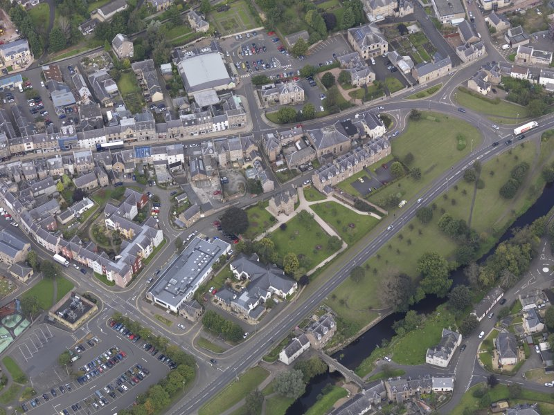 Oblique aerial view of Queen Mary's House, Jedburgh, taken from the SE.