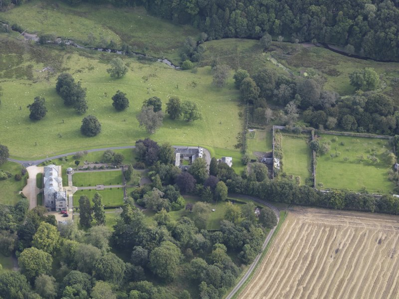 Oblique aerial view of Edgerston House, taken from the W.