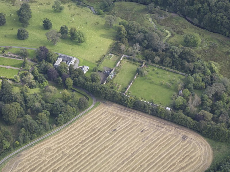 Oblique aerial view of Edgerston House, taken from the SW.