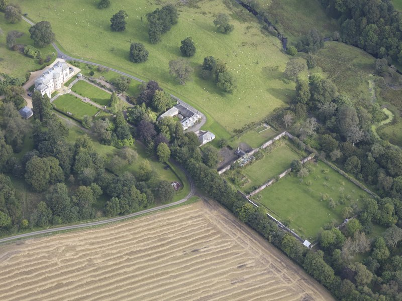Oblique aerial view of Edgerston House, taken from the SSW.