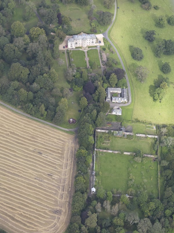 Oblique aerial view of Edgerston House, taken from the SSE.