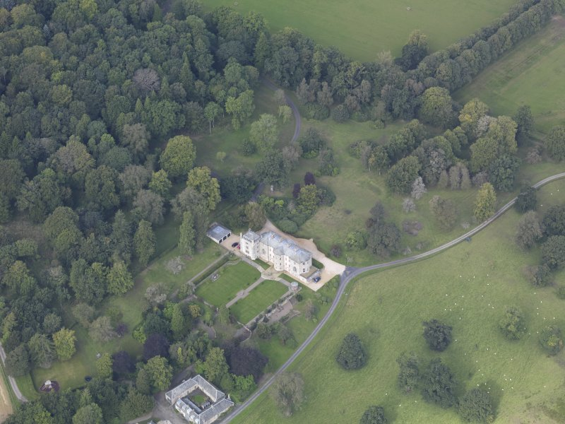 Oblique aerial view of Edgerston House, taken from the ESE.