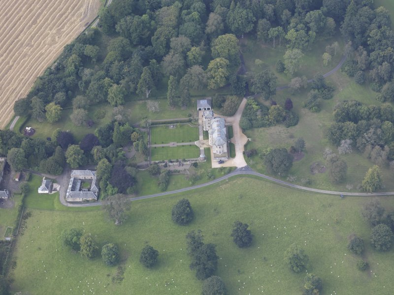 Oblique aerial view of Edgerston House, taken from the ENE.