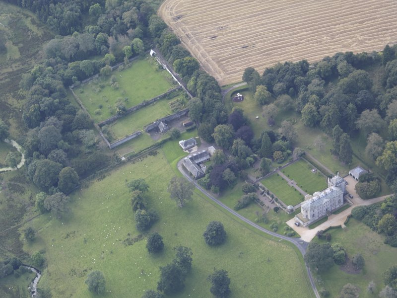 Oblique aerial view of Edgerston House, taken from the NNE.