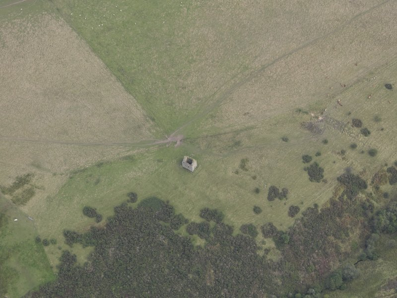Oblique aerial view of Mervinslaw Pele-House, taken from the S.