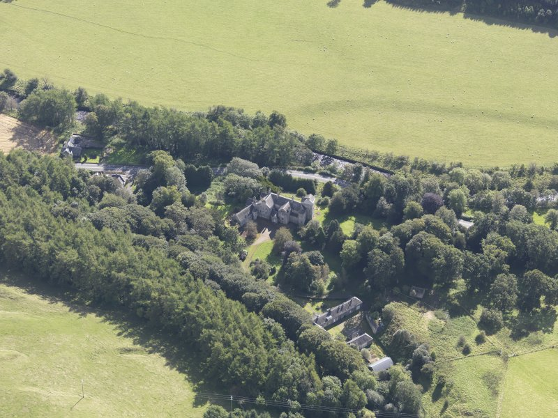Oblique aerial view of Branxholme Castle, taken from the NW.
