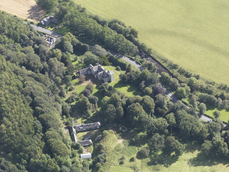 Oblique aerial view of Branxholme Castle, taken from the WNW.