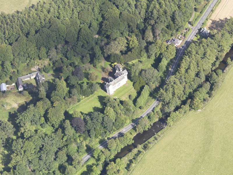Oblique aerial view of Branxholme Castle, taken from the S.