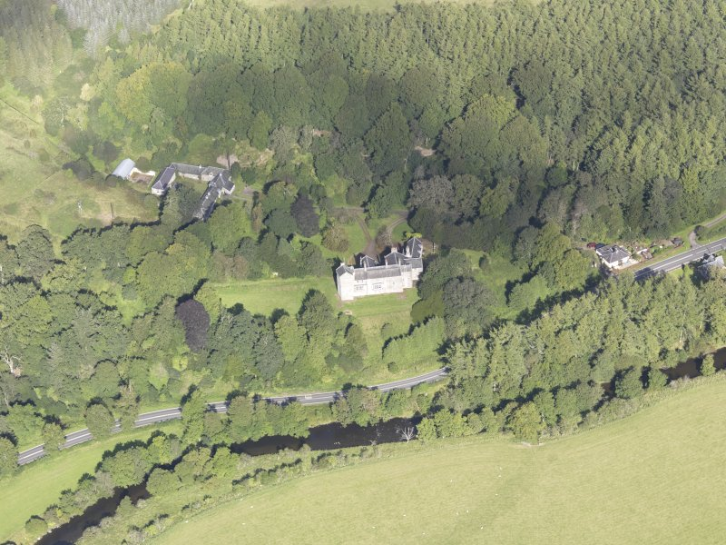 Oblique aerial view of Branxholme Castle, taken from the SSE.