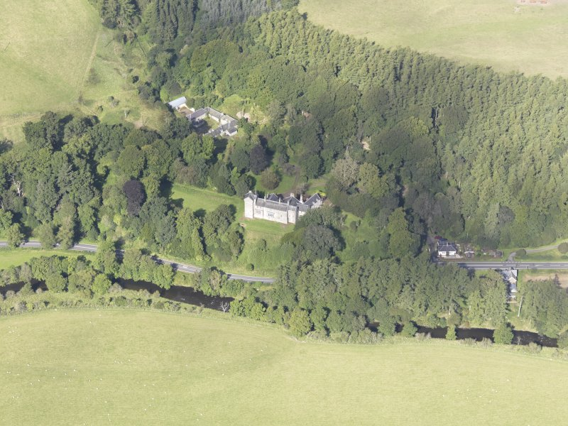 Oblique aerial view of Branxholme Castle, taken from the SE.