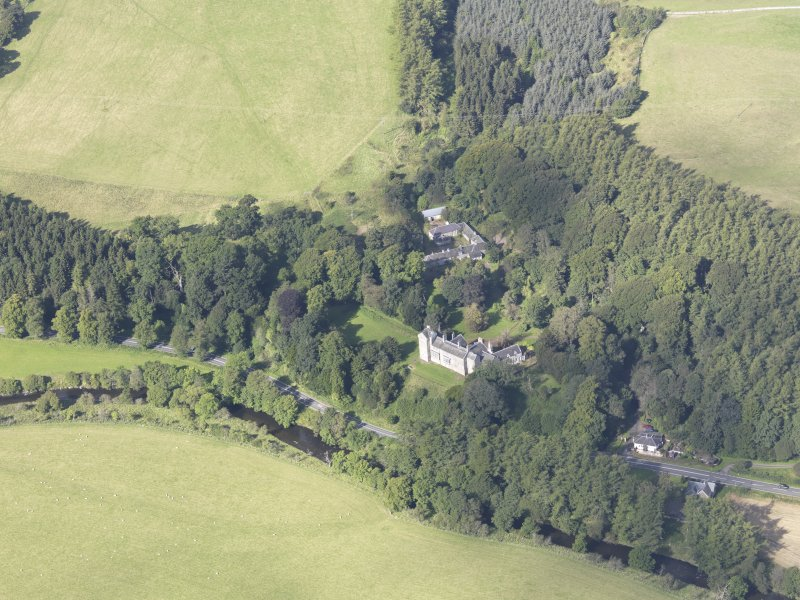 Oblique aerial view of Branxholme Castle, taken from the ESE.
