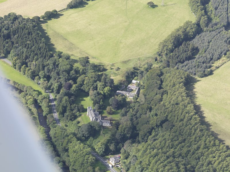 Oblique aerial view of Branxholme Castle, taken from the E.