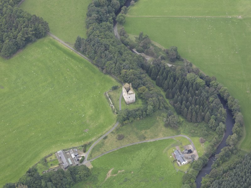 Oblique aerial view of Newark Castle, taken from the ESE.