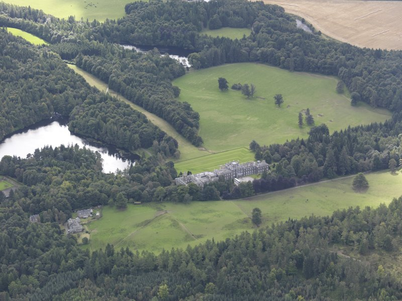 Oblique aerial view of Bowhill Country House, taken from the N.