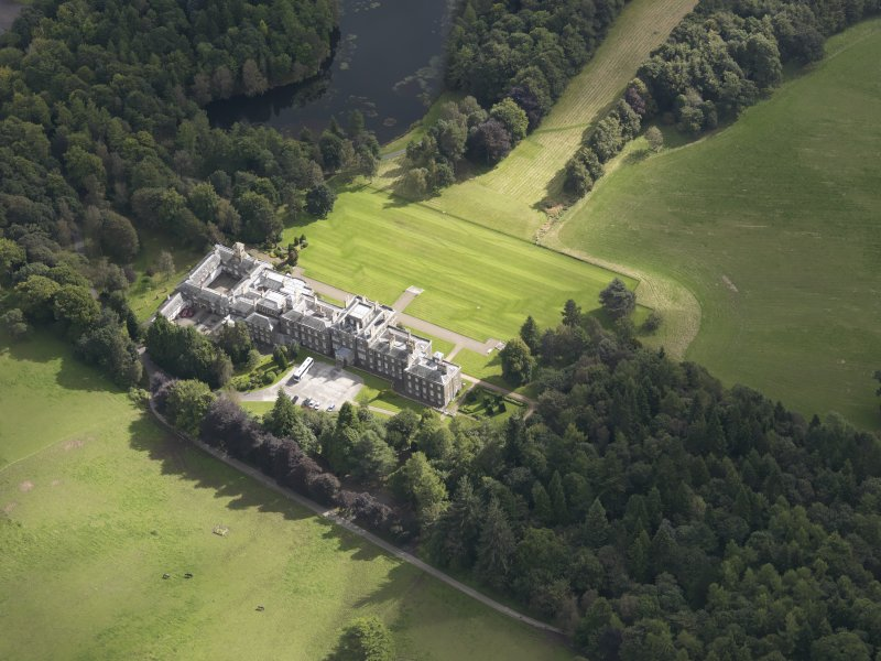 Oblique aerial view of Bowhill Country House, taken from the NW.