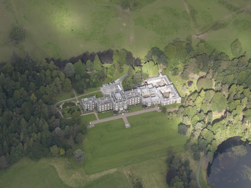 Oblique aerial view of Bowhill Country House, taken from the SE.