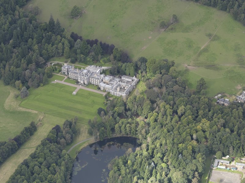 Oblique aerial view of Bowhill Country House, taken from the E.