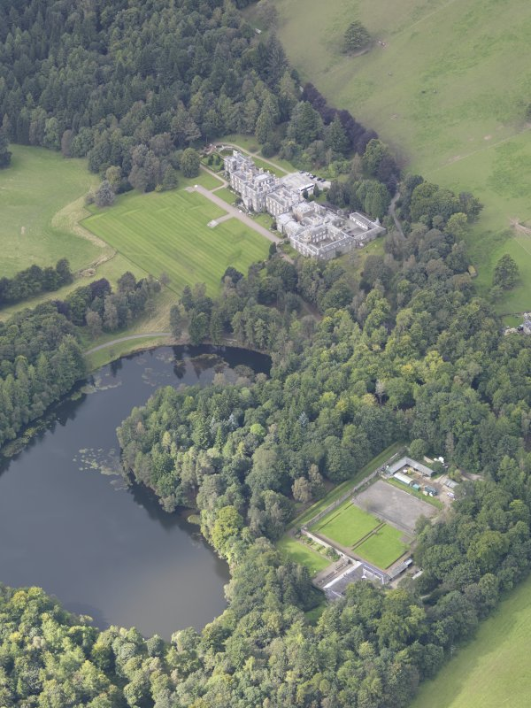 Oblique aerial view of Bowhill Country House, taken from the ENE.