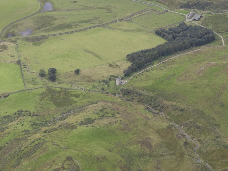 Oblique aerial view of Kirkhope Tower, taken from the NE.