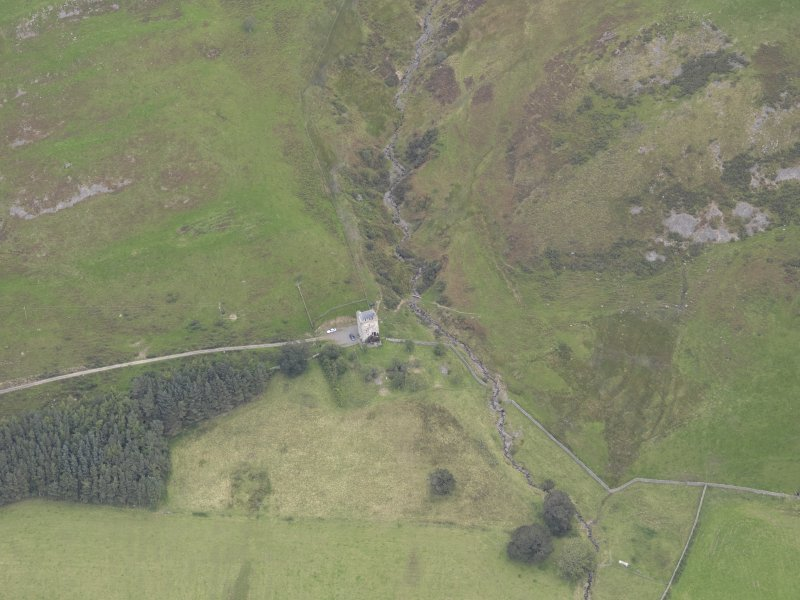 Oblique aerial view of Kirkhope Tower, taken from the S.