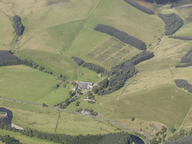 Oblique aerial view of Nether Horsburgh Castle, taken from the SE.