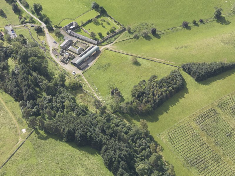 Oblique aerial view of Nether Horsburgh Castle, taken from the NE.
