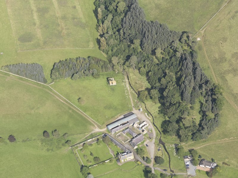 Oblique aerial view of Nether Horsburgh Castle, taken from the S.