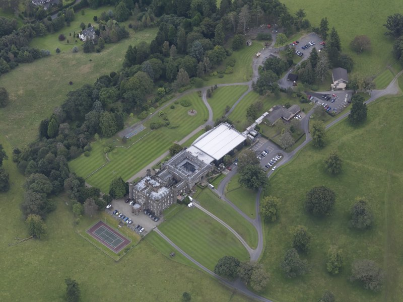Oblique aerial view of Stobo Castle, taken from the N.