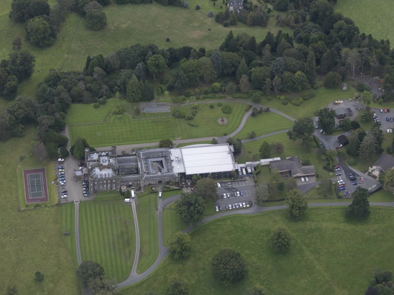 Oblique aerial view of Stobo Castle, taken from the NW.