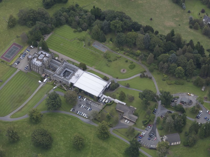 Oblique aerial view of Stobo Castle, taken from the WNW.