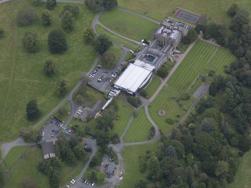 Oblique aerial view of Stobo Castle, taken from the SW.