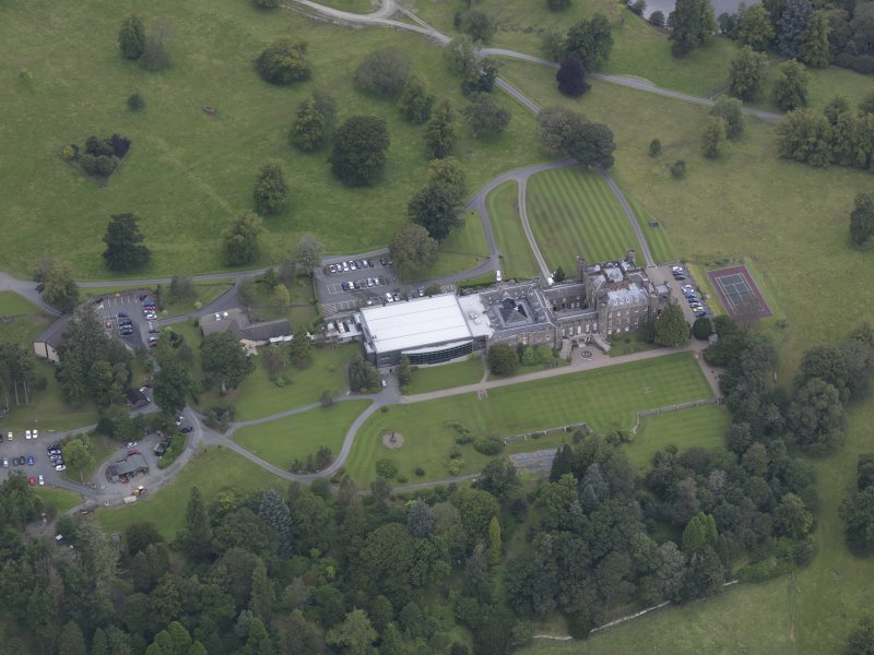 Oblique aerial view of Stobo Castle, taken from the SSE.