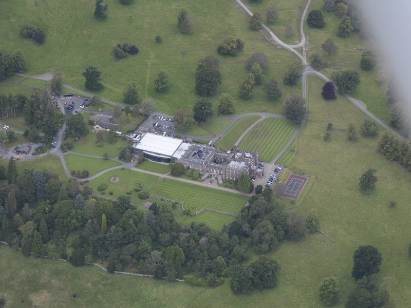 Oblique aerial view of Stobo Castle, taken from the SE.