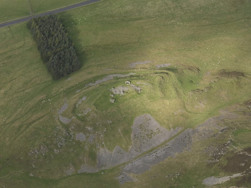 Oblique aerial view of Tinnis Castle, taken from the S.
