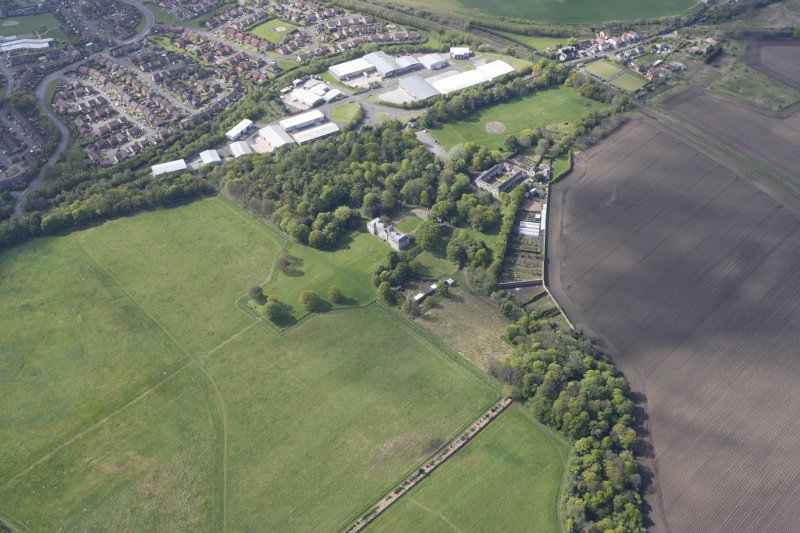 General oblique aerial view of Newhailes House, Newhailes Estate and Newhailes Industrial Estate, looking S.